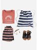 Buho hansel navy stripes boy swimsuit old rose