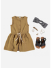 Buho andrea front buttoned girl dress moutarde