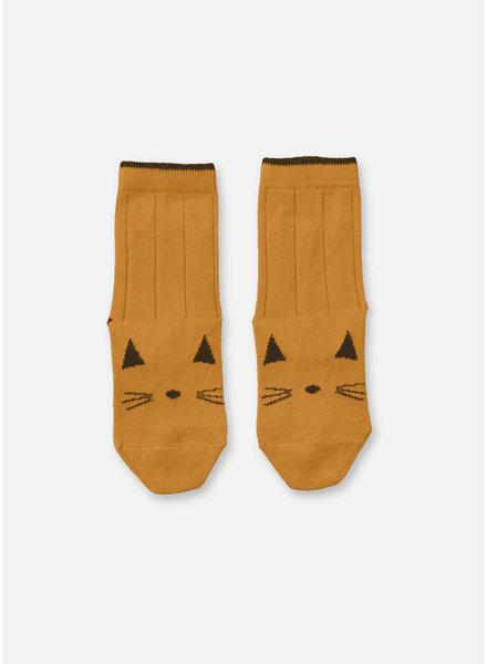 Liewood silas socks 2 pack cat mustard