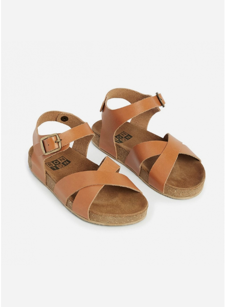 Bonton sandals croisees cuir naturel