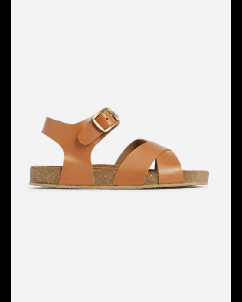Bonton sandals croisees cuir marron