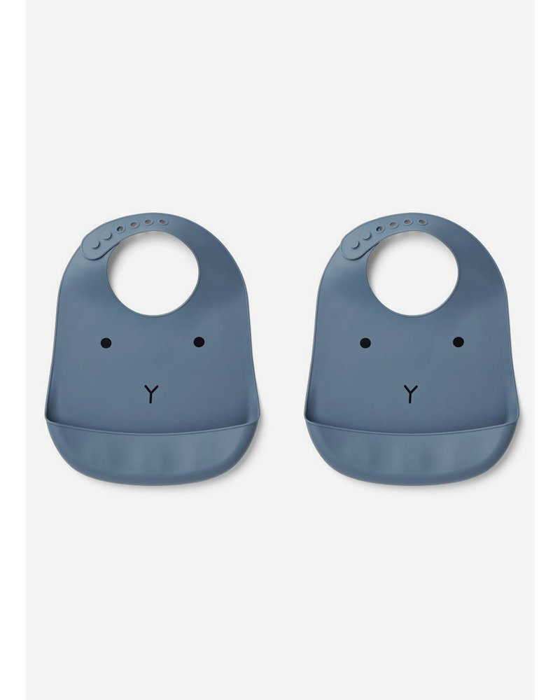Liewood tilda silicone bib rabbit blue wave