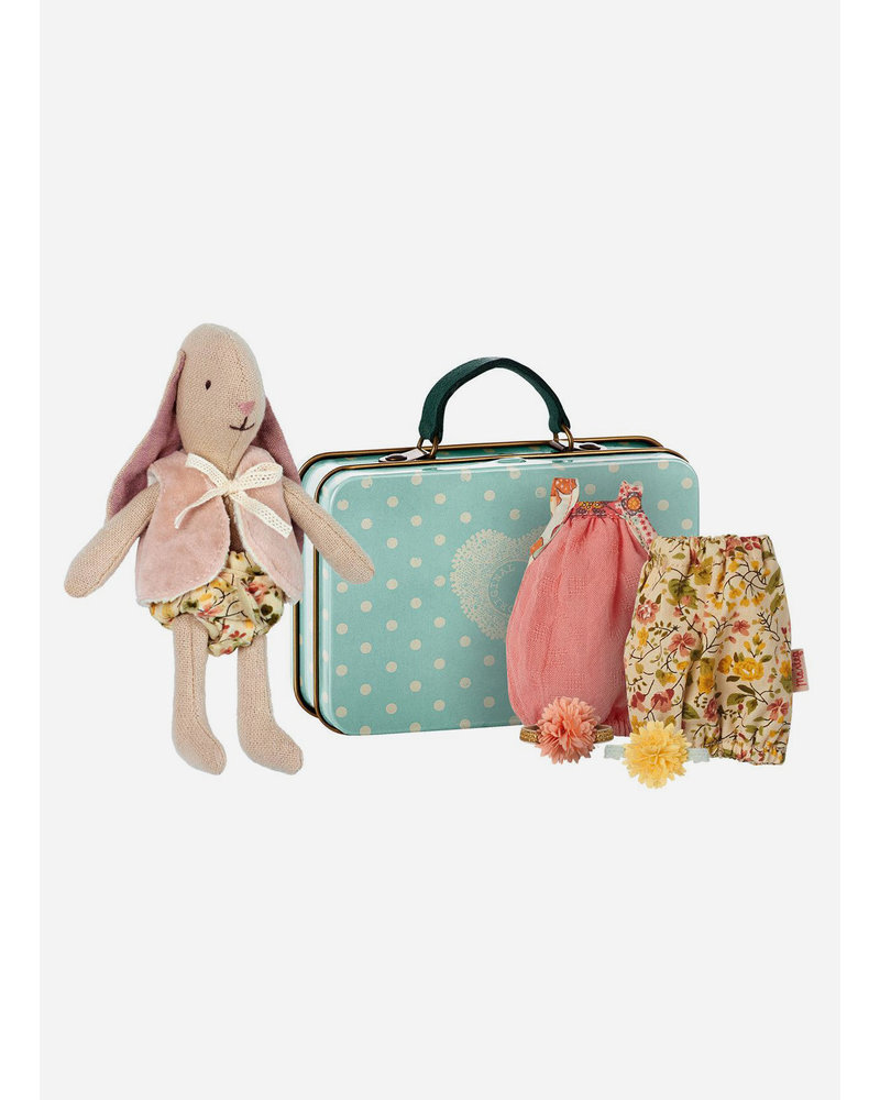 Maileg suitcase bunny with 2 dresses