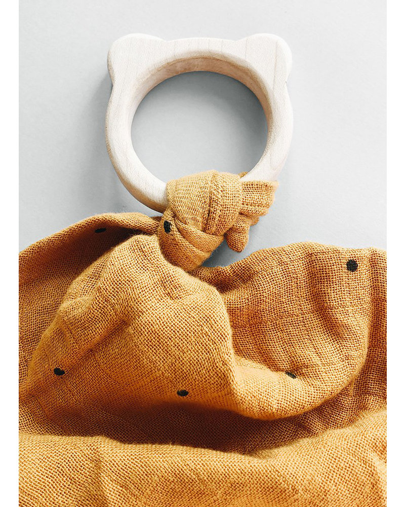 Liewood dines teether cuddle cloth dot mustard