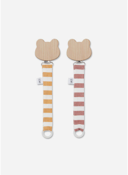 Liewood sia pacifier strap 2 pack mustard / creme