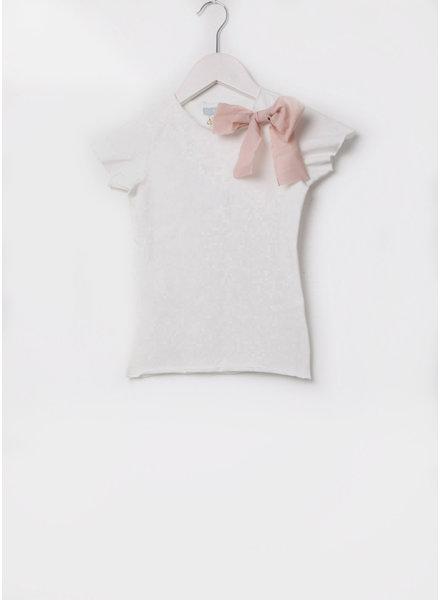 Club Cinq tremezzo bow short sleeve off white