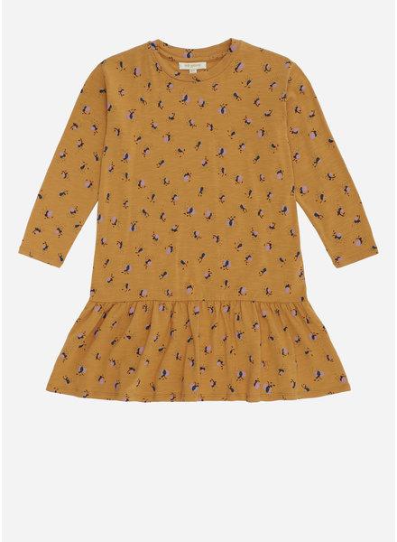 Soft Gallery ezy dress, inca gold, aop flowerbee small