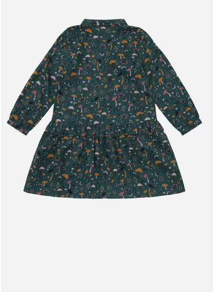 Soft Gallery elisabelle dress, deep teal, aop fungi