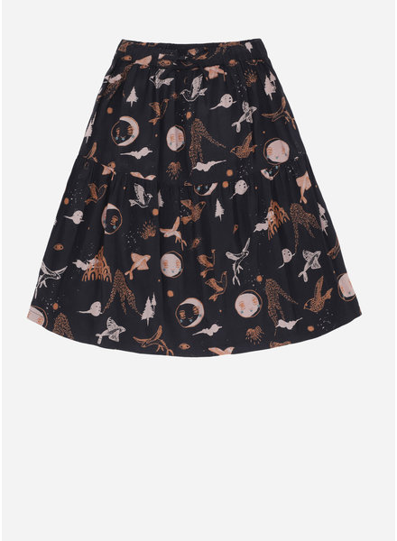 Soft Gallery edel skirt, peat, aop enchanted forest