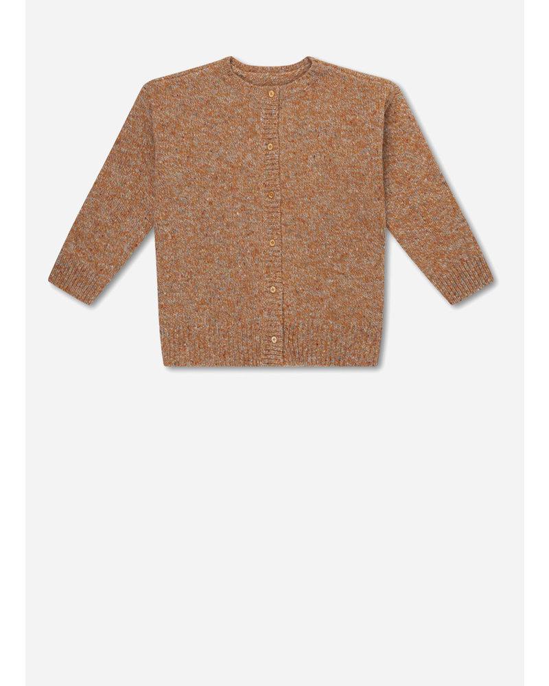 Repose 6. knitted rib cardigan - mixed warm wheat