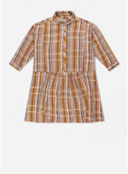 Repose 45. boxy shirt dress - golden check