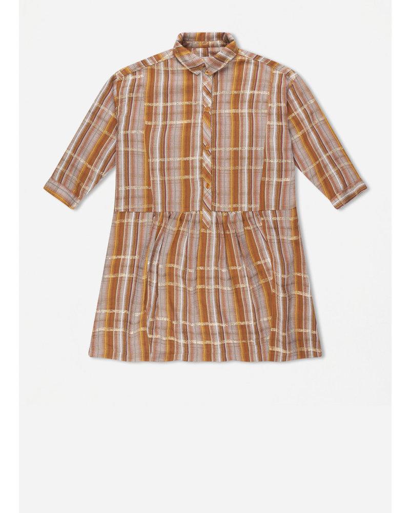 Repose 45. boxy shirt dress - golden check