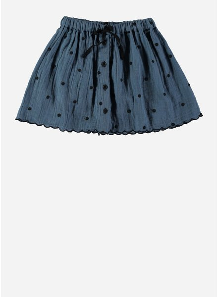 Buho mafalda dots buttoned skirt ocean blue