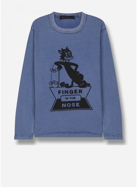 Finger in the nose nico - ls jersey tshirt - kraft blue skate cat