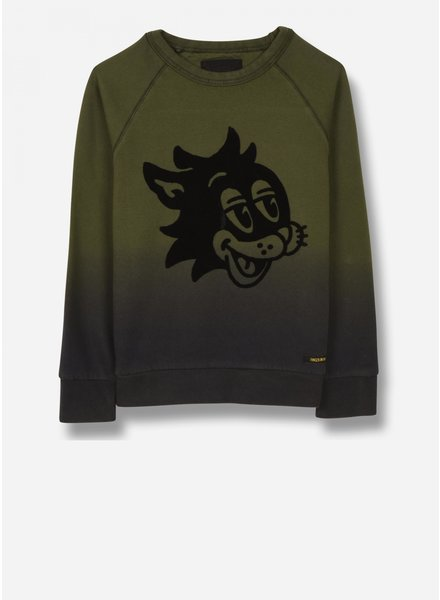 Finger in the nose hank - crew neck sweatshirt - khaki cat smile