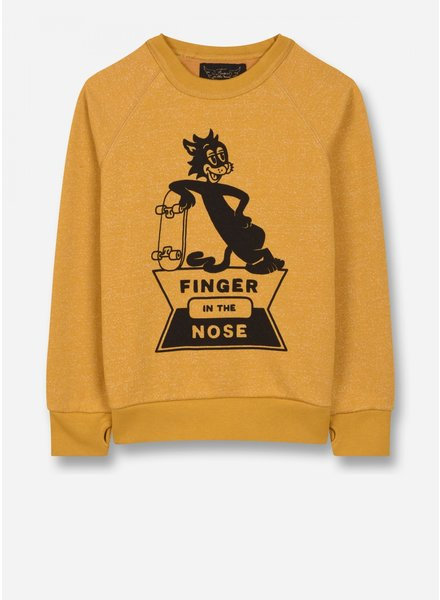 Finger in the nose hank - crew neck sweatshirt - heather mustard skate cat