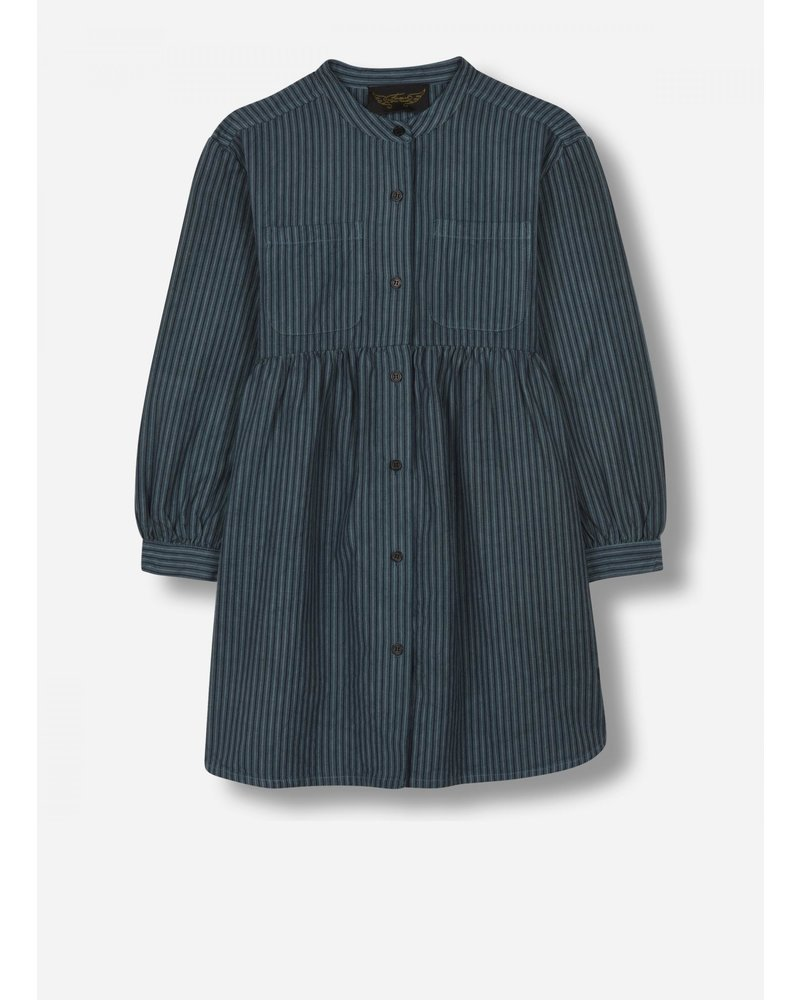 Finger in the nose sway - woven ls dress - dark blue stripes