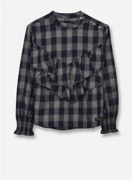 Finger in the nose swindle - woven ls top - sailor blue checker