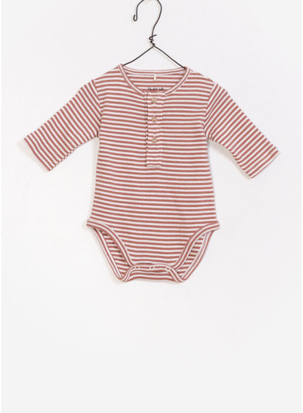 Play Up baby striped rib bodysuit - rust