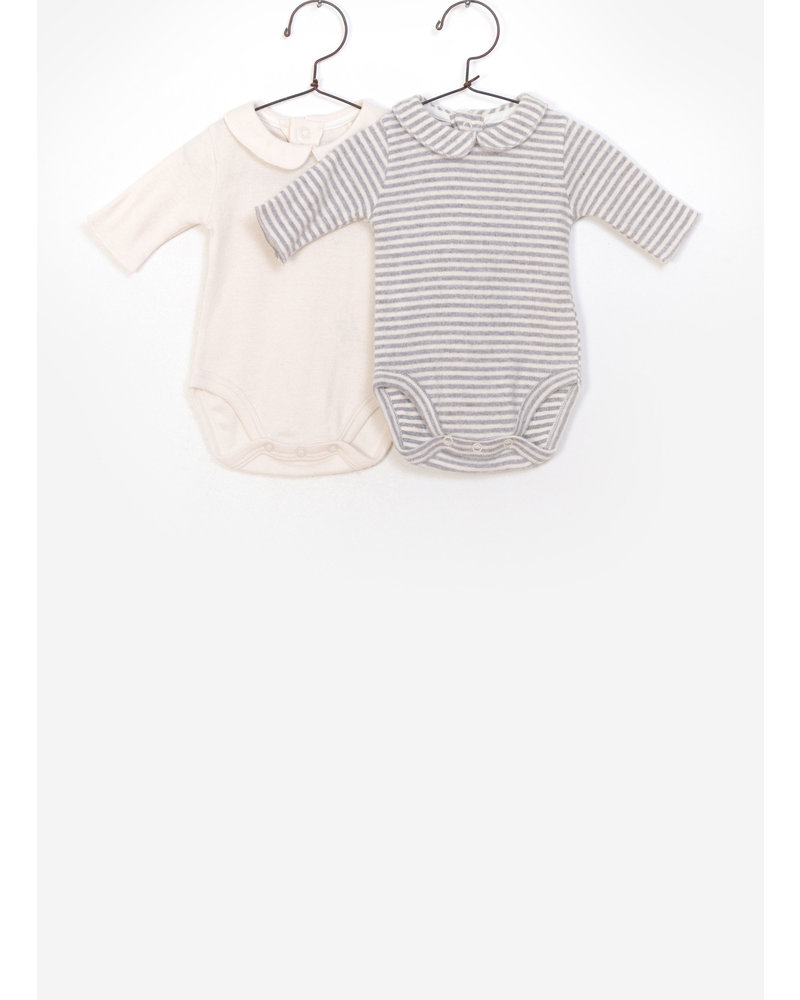 Play Up baby 2 pack bodies flame rib - creme grey stripes