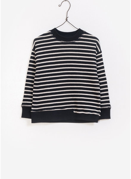 Play Up striped double face sweater - black