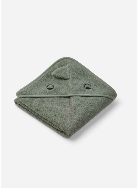 Liewood albert hooded towel dino fraune green