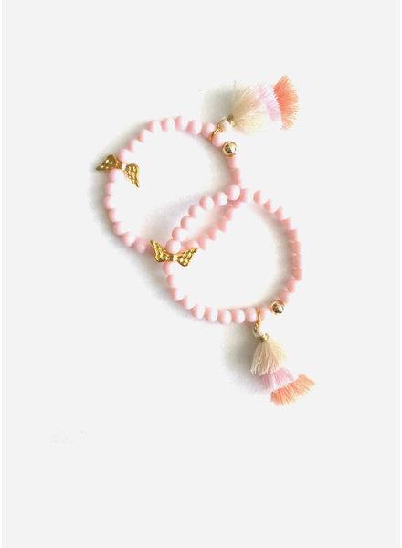 ByMelo armband licht roze vleugels