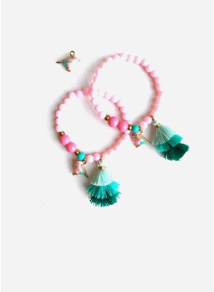 ByMelo armband licht roze vogeltje