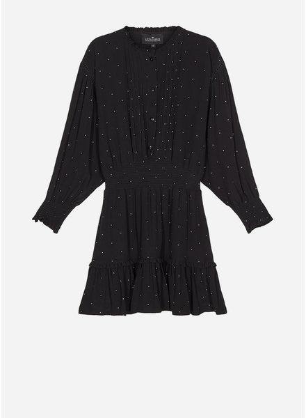 Designer Remix Girls leana sleeve dress black yellow dot