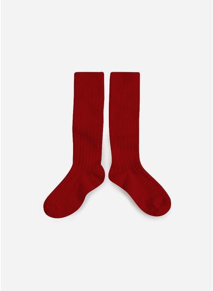 Collegien kniekous rouge carmin