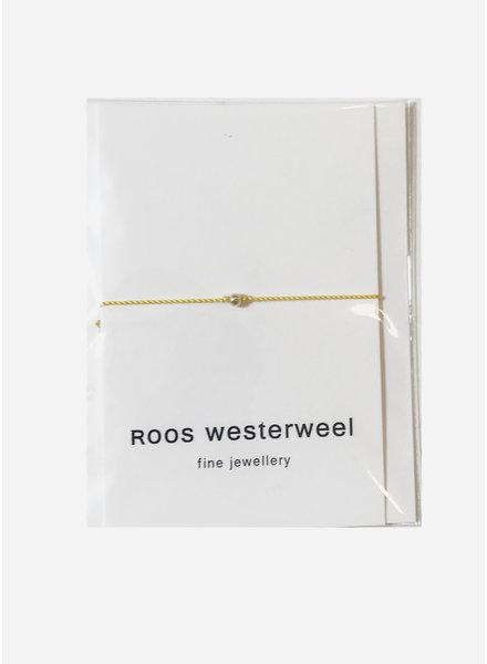 Roos Westerweel draadarmband geel zilveren parel