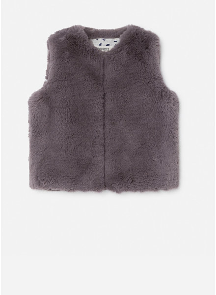 Bobo Choses grey faux fur vest