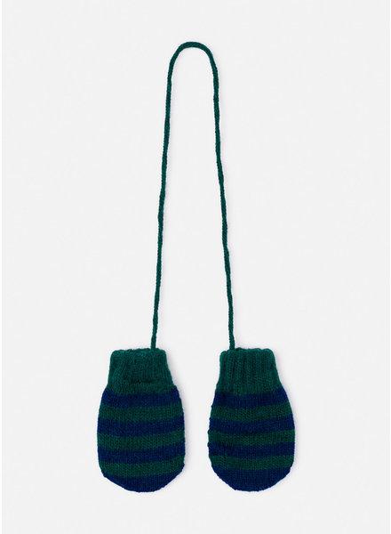 Bobo Choses green striped mitten gloves