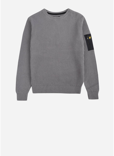 Lyle & Scott ribbed knitted jumper 7gg granite grey