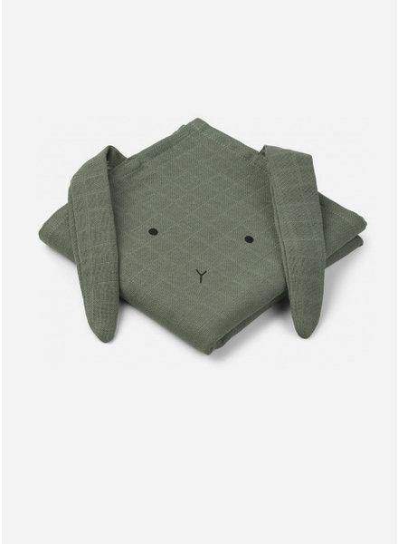 Liewood hannah muslin cloth rabbit faune green