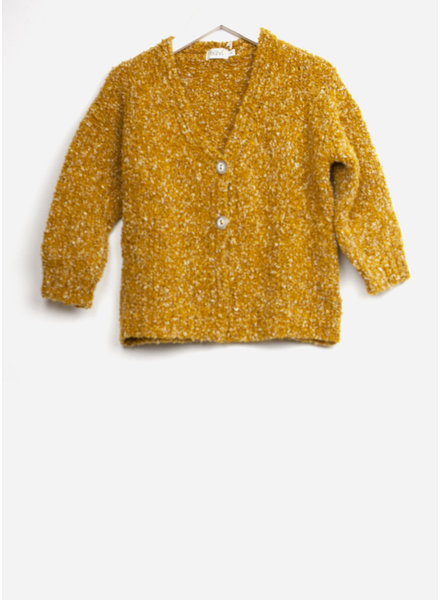 Buho marina knit boucle cardigan curry