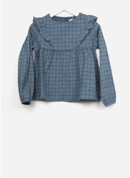 Buho julia check blouse ocean blue