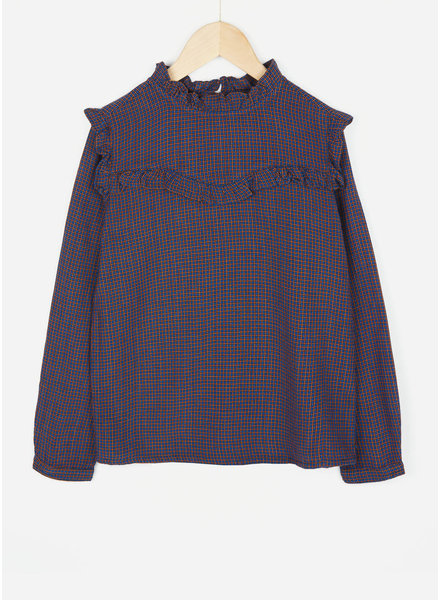 By Bar girls valerie check blouse blue berry
