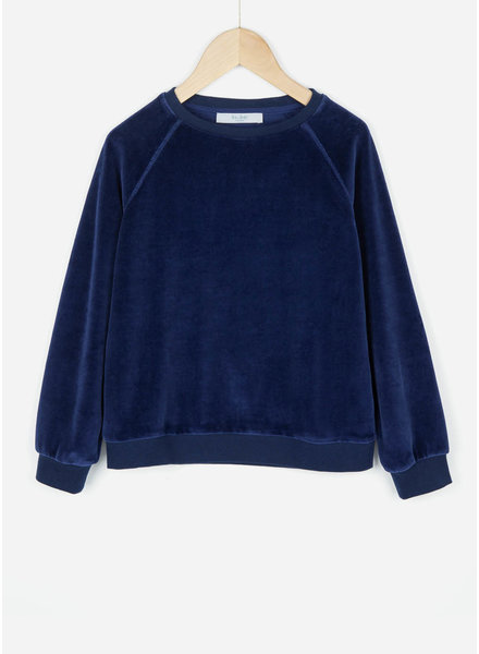 By Bar girls teddy velvet sweater blue berry