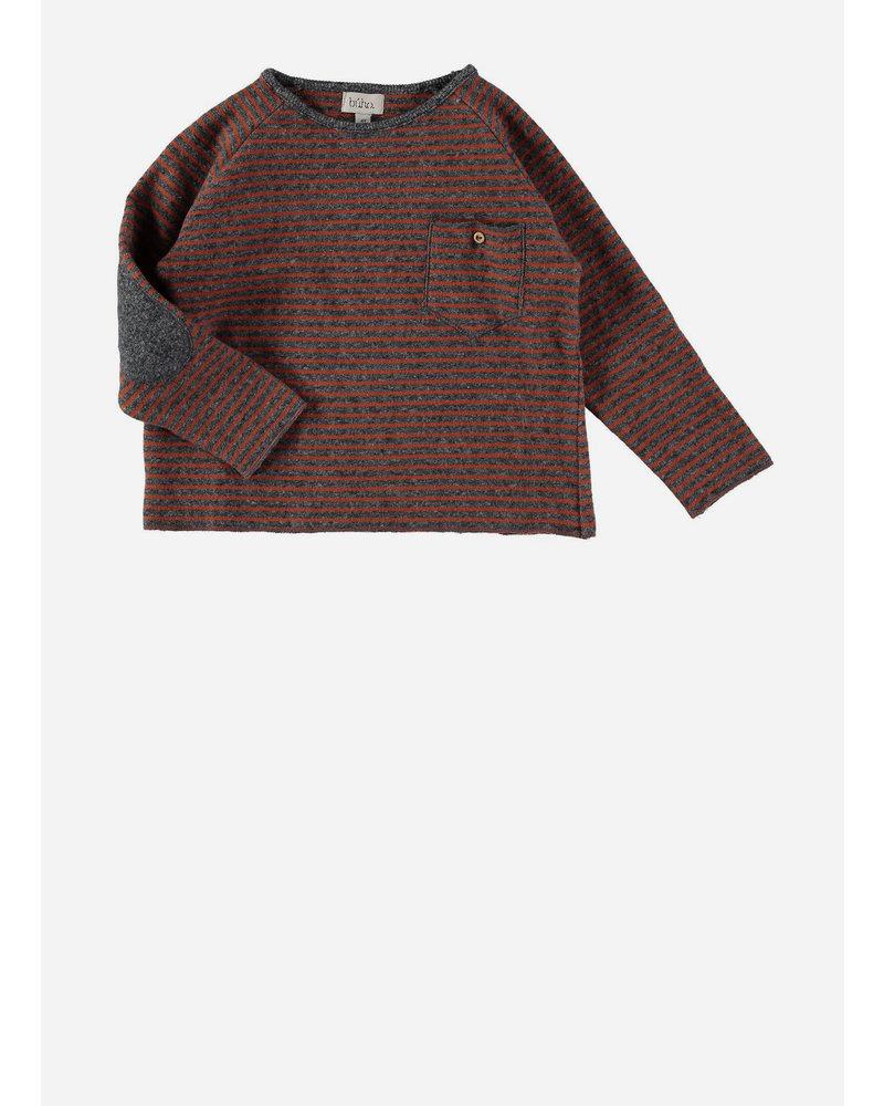 Buho bruno stripes pocket sweater grey