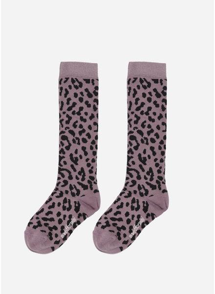 Maed for mini lilac leopard knee socks