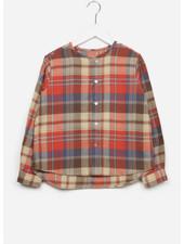 East end highlanders collarless shirt - brown/darkbrown/white