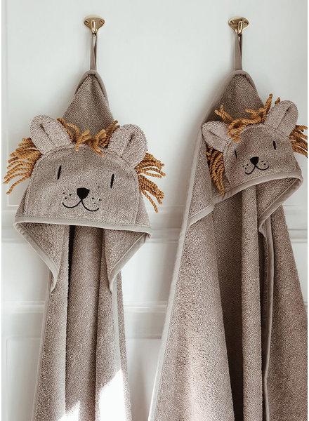 Liewood albert hooded towel lion stone beige