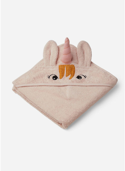 Liewood albert hooded towel unicorn sorbet rose