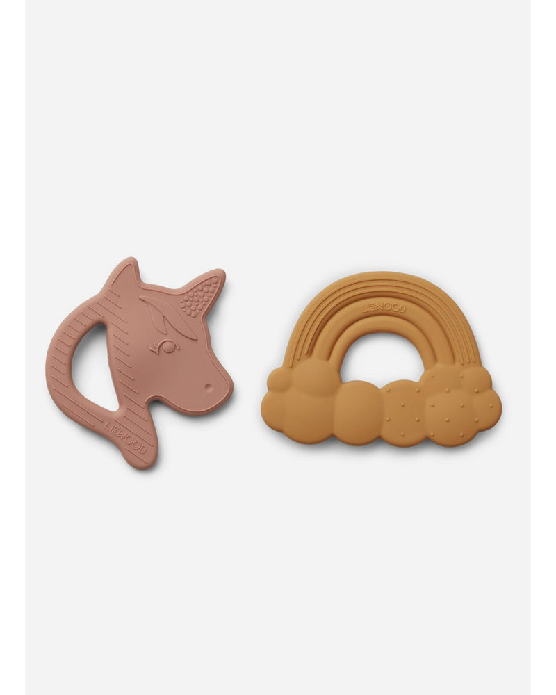 Liewood roxie silicone teether unicorn rose mix 2 pack
