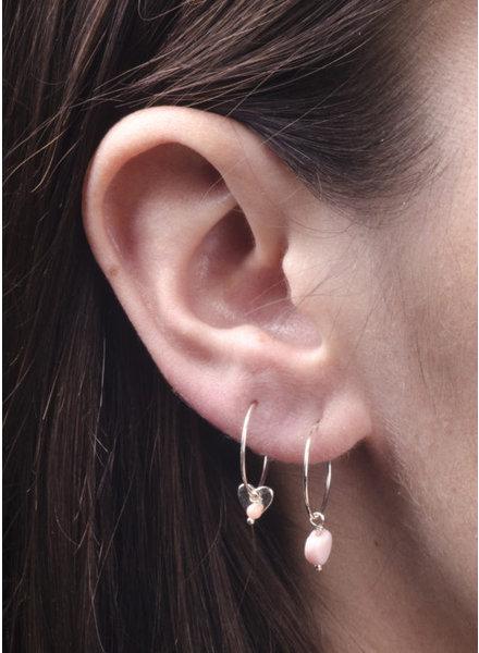Charlotte Wooning oorbellen dubbel hart zilver