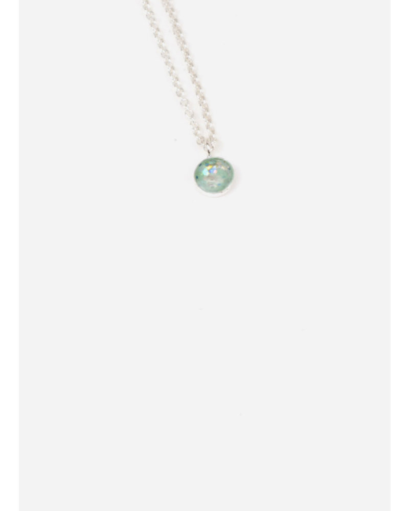 Charlotte Wooning ketting confetti zilver/groen