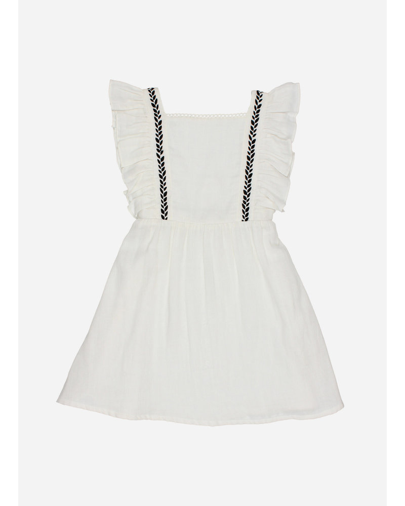 Buho graze embroidered dress - white