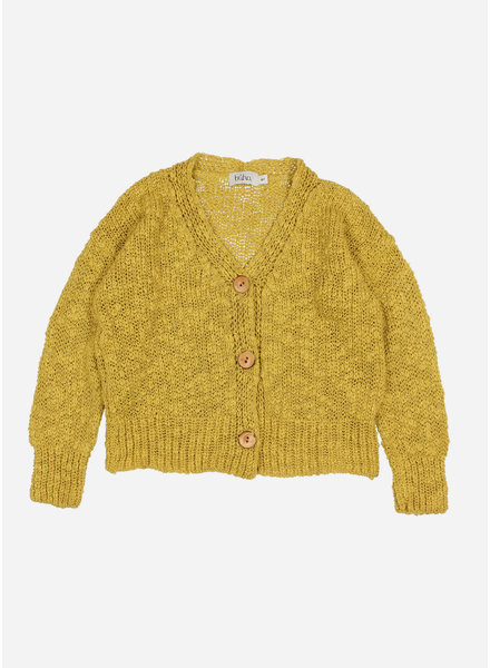 Buho michelle knit cotton flame cardigan - ocre