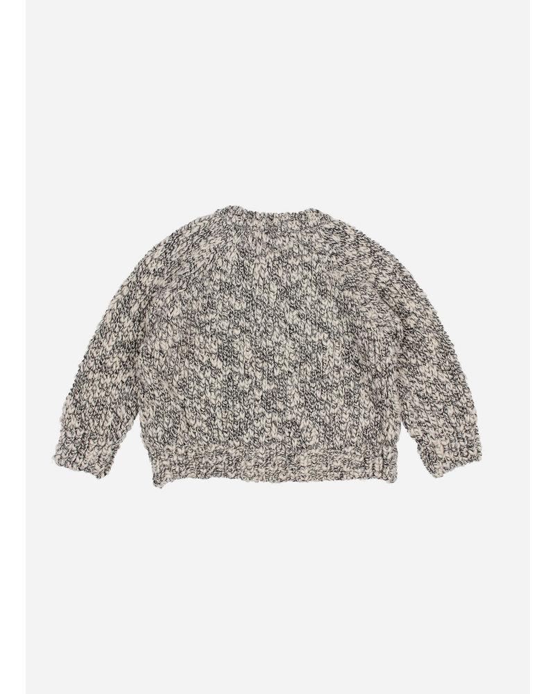 Buho dani knit cotton flame cardigan - grey melange